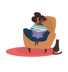 girl reading book in armchair cat sitting on vector image