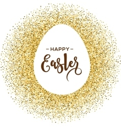 Gold Easter egg with lettering vector image