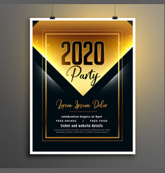 golden black 2020 new year party flyer template vector image