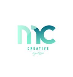 green gradient pastel modern mc m c alphabet vector image