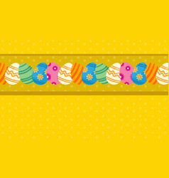 Greeting card of easter theme with egg vector