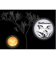 Halloween with spooky face vector