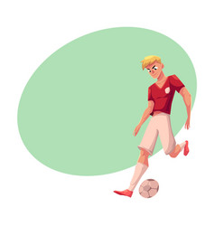 Handsome blond soccer football player in uniform vector
