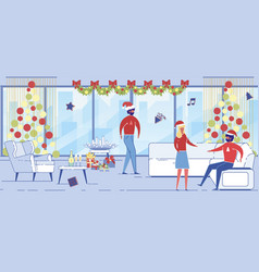 happy business men and woman in santa hat have fun vector image