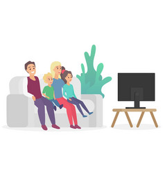 happy family watching tv sitting on couch sofa vector image