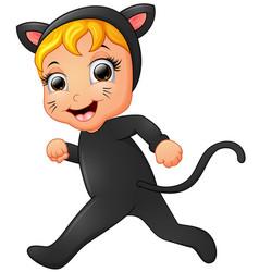 happy little girl wearing cat costume walking vector image