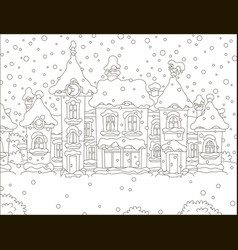 Houses of a small town on a snowy day vector