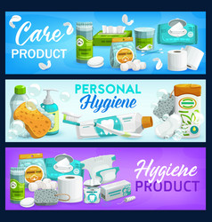 Hygiene health care products banners set vector