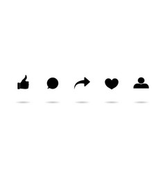 Icon like share comment repost and love logos vector