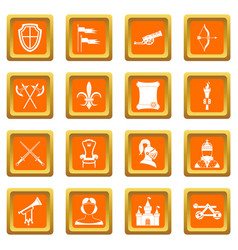 Knight medieval icons set orange vector
