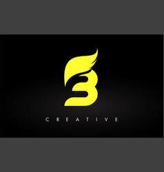 Letter b logo with yellow colors and wing design vector