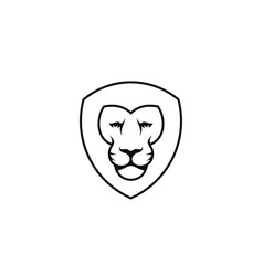lion head outline style vector image