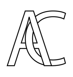 logo ac icon sign two interlaced letters a c vector image