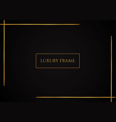 Luxury black background golden frame with space vector