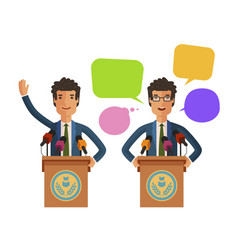 man speaks from podium tribune business concept vector image