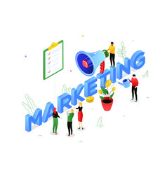 marketing strategy - modern colorful isometric vector image