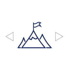 mountain peak with flag icon vector image