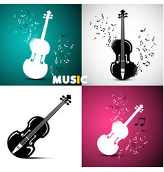 Music design with violins and notes vector