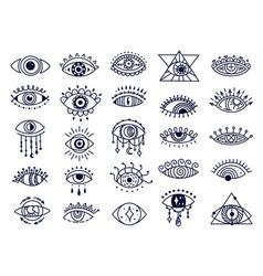Mystic evil eyes doodles spiritual turkish eye vector