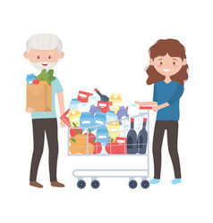 Old man and woman shopping with cart and bag vector
