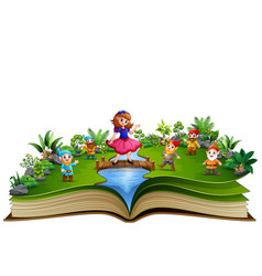 open book with snow white and dwaft in the park vector image