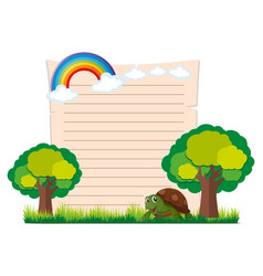 paper template with turtle and trees vector image