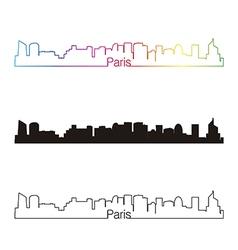 Paris V2 skyline linear style with rainbow vector image