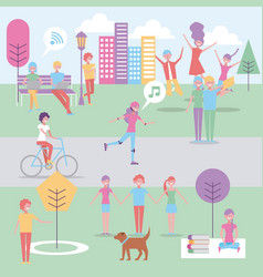 people in the park doing activities vector image
