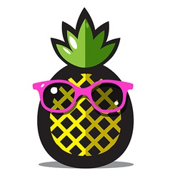 Pineapple Yellow Ananas Cartoon with Green Leaves vector