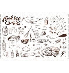 pizza cooking hand drawn vintage icons vector image