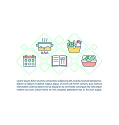 Prepare food for family concept line icons vector