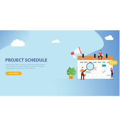 project schedule calendar timeline with people vector image