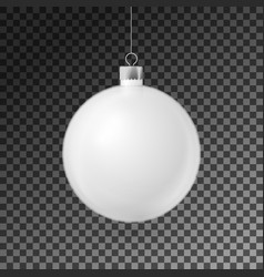 realistic white christmas ball with silver ribbon vector image