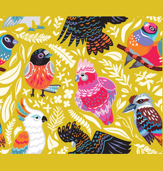 seamless pattern with exotic australian birds vector image