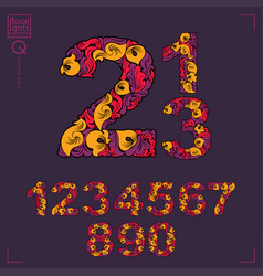 Set beautiful numbers decorated with herbal vector