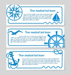 set nautical themed banners vector image