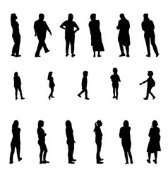 Set of black and white silhouette walking people vector
