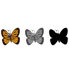 set of butterfly cartoon vector image