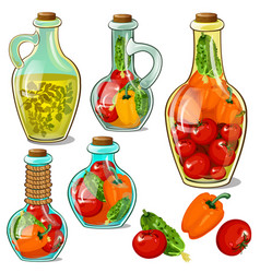 set of decorative glass bottles with pickled ripe vector image