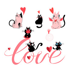 set of enamored cats on white background vector image