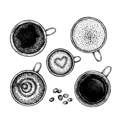 Set of hand drawin ink coffee sketches vector