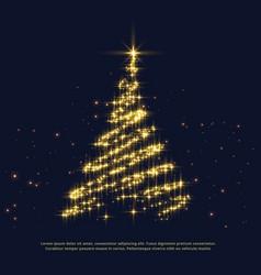 Shiny sparkles creative christmas tree design vector
