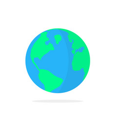 Simple planet earth icon with shadow vector