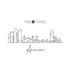 Single continuous line drawing amman city vector