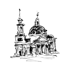 Sketch drawing of historical building from Kyiv vector