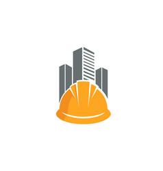 skyscrapers hardhat logo vector image
