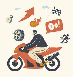 speed racing motocross rally concept biker male vector image