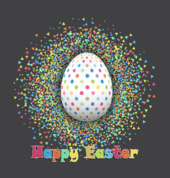 Spotted easter egg on confetti background vector