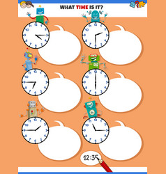Telling time educational task with funny robots vector