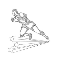 Track and field athlete running doodle art vector
